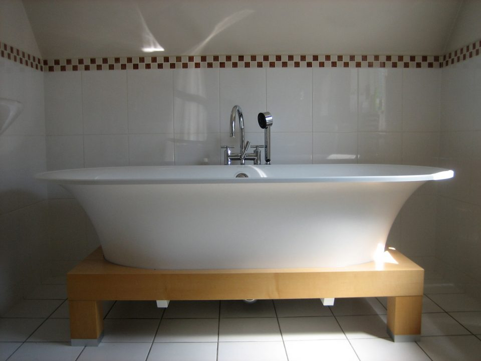 Standalone bath chosen by Alison Morton Interiors for a house in Hampton