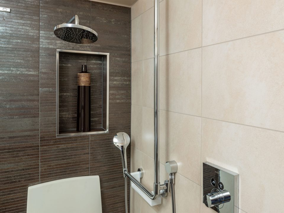 Hampton shower room designed for a disabled person by Alison Morton Interiors
